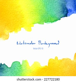 vector watercolor orange, yellow, blue, green gradient background with horizontal copy space