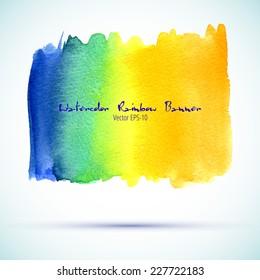 vector watercolor orange, yellow, blue, green rainbow gradient banner with shadow