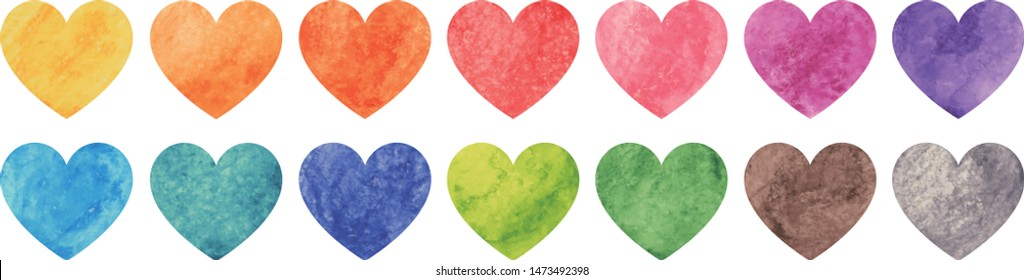 Vector watercolor painted colorful heart on white background