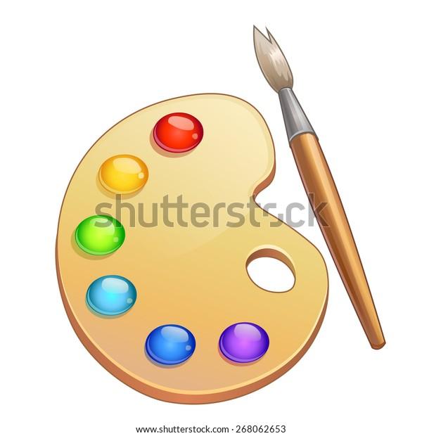 vector watercolor palette paintbrush stock vector (royalty free) 268062653  shutterstock