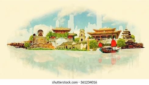 vector watercolor panoramic HONK KONG city illustration