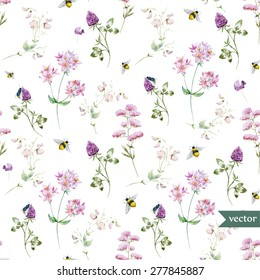 vector watercolor pattern with wild flowers and bees