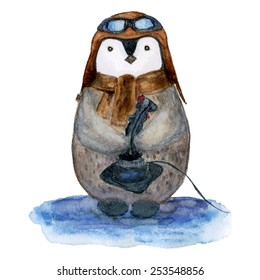 vector watercolor penguin in pilot in pilot helmet , scarf, goggles with fly game joystick , the player