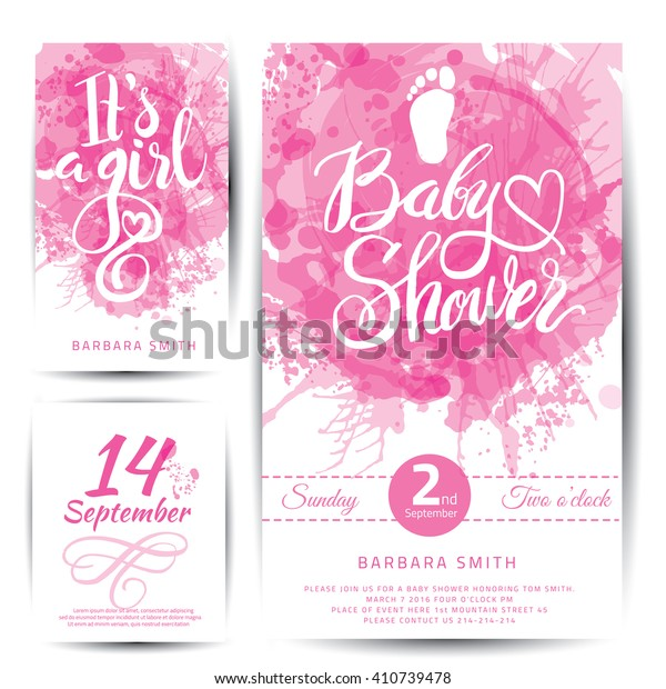 Vector watercolor pink sticker set It's a girl. Calligraphy lettering Baby shower. element for invitation design.