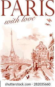 Vector watercolor postcard Paris template with text space. Memory card design, greeting, love theme, Tour d'Eiffel painting.
