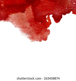 Vector watercolor red cherry ink spot. Wet brush stroke on paper texture. Dry brush strokes. Abstract composition for design elements