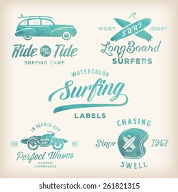 Vector Watercolor Retro Style Surfing Labels, Logos or T-shirt Graphic Design Featuring Surfboards, Surf Woodie Car, Motorcycle Silhouette, Helmet etc. Good for Posters etc.