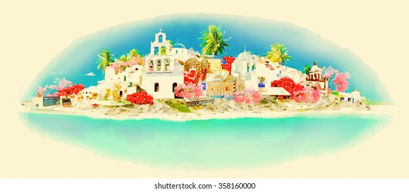 vector watercolor SANTORINI city illustration