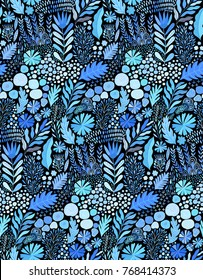 Vector watercolor seamless abstract botanical ethnic painting. Artistic handmade batik print, floral oriental textile, fabric. Winter blue theme