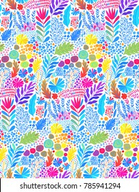 Vector watercolor seamless abstract botanical ethnic painting. Artistic handmade batik print, floral oriental textile, fabric.