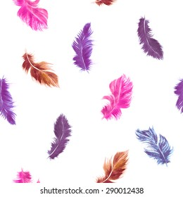 Vector watercolor seamless pattern. Flying feather in romantic purple and pink colors colors on white background.