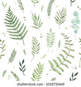 Vector watercolor seamless pattern. Spring is coming. Botanical background with green leaves, branches and herbs. Floral Design elements. Perfect for invitations, cards, textiles, packing, fabric