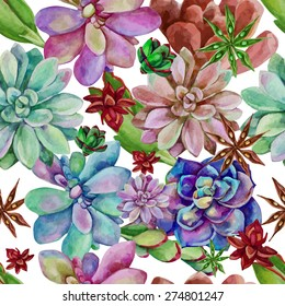 Vector watercolor seamless pattern of succulents.