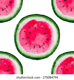 Vector watercolor seamless pattern with  texture of the watermelon.