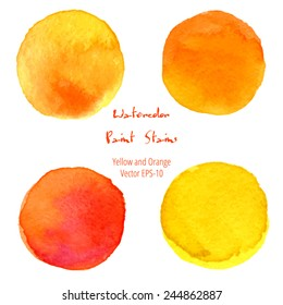 vector watercolor set of 4 round orange and yellow brush stains isolated on white background