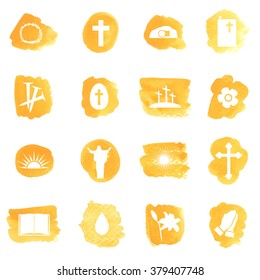 Vector Watercolor set of Christian Easter icons