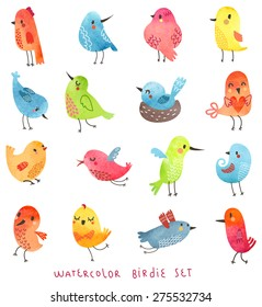 Vector watercolor set  Cute birds