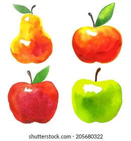 Vector watercolor set of fruits. Apples and pear.