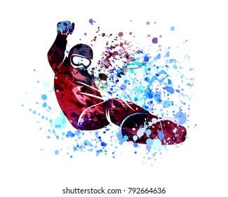 Vector watercolor silhouette snowboarder