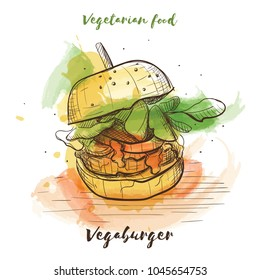 Vector watercolor sketch vegetarian food. Eco food. Vegaburger isolated on white sketch.