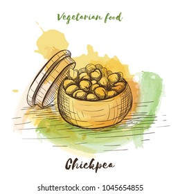 Vector watercolor sketch vegetarian food. Eco food. Chickpea isolated on white sketch.