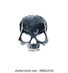 vector watercolor skull