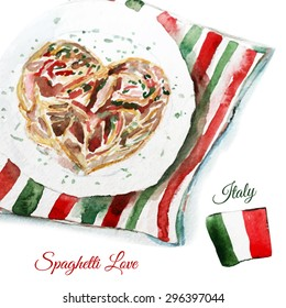 Vector watercolor spaghetti carbonara in heart shape on the plate with italian flag. Artistic vector design for menu, banners,cards,sales, posters. EPS10.
