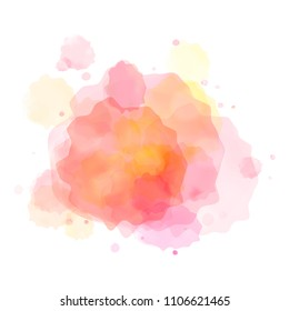 Vector watercolor splash in pink, orange and red colors isolated on white background.