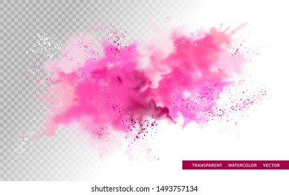Vector watercolor splash with transparent details. Abstract painting background