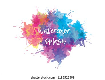 Vector watercolor splashes background. Colorful splashes banner.