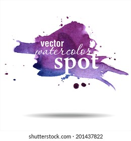 Vector watercolor spot. Watercolor background. Hand drawing illustration. Watercolor painting on Paper.