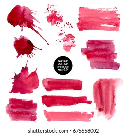 Vector watercolor stain set. Round shapes, stripes, rectangles, splashes in deep red color isolated on white.