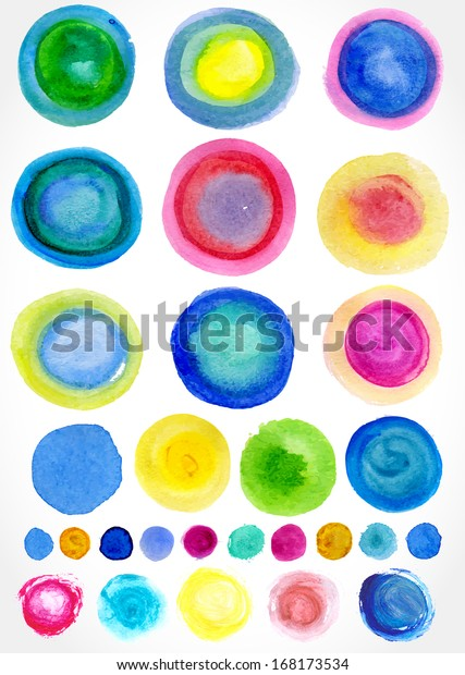 Vector watercolor stains for your design, isolated.