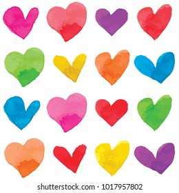 Vector watercolor style illustrated and painted hearts in rainbow colors pattern set