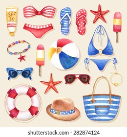 Vector watercolor summer fashion set of woman's beach accessories. Vintage hand drawn travel objects