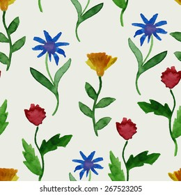 Vector Watercolor Summer Seamless Pattern, fully editable eps 10 file with clipping mask and seamless pattern in swatch menu