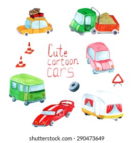 vector watercolor transport set. It can be used for card, postcard, cover, invitation, birthday card.