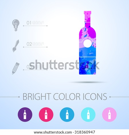 vector watercolor vine bottle template infographic stock vector