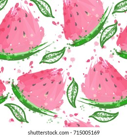 Vector watercolor watermelon and mint leaves seamless pattern. Summer vivid background