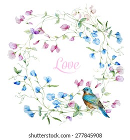 vector watercolor wreath with sweet peas with bird
