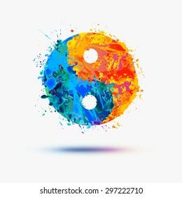 Vector watercolor. Ying yang symbol (harmony and balance)