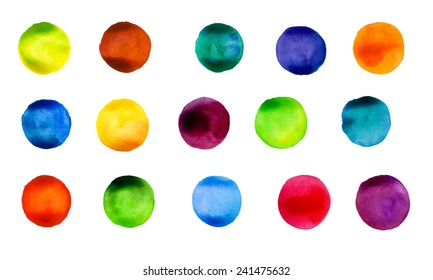Vector watercolors pattern.  Painted ornament. Set of watercolor round shapes. Watercolors blobs