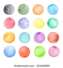 Vector watercolors pattern. Round shapes pattern. Painted ornament. Set of watercolor shapes. Watercolors blobs