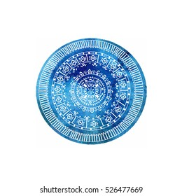 Vector watercolour  blue abstra?t spot in circle and white hand drawing ornament in it