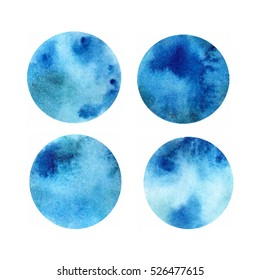 Vector watercolour  blue abstra?t spots in circle