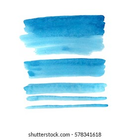 Vector watercolour bright blue spots different shapes suitable for text, congratulations, signature   on white background
