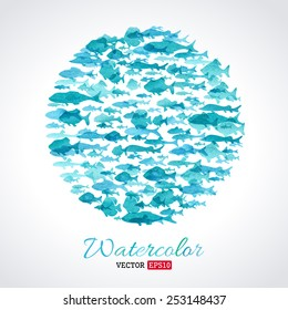 Vector watercolour fish background. Blue watercolor round fish background. There is place for your text.