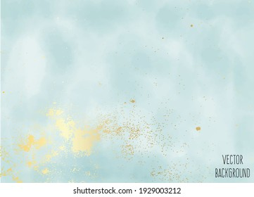 Vector watercolour horizontal universal background with gold gradient.