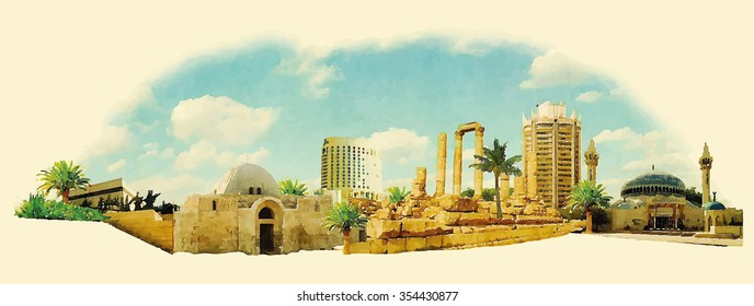 vector watercolour panoramic amman city
