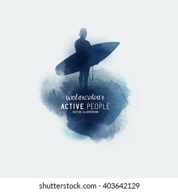 Vector Watercolour stain with a surfer.